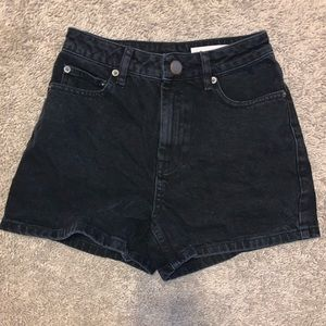 ASOS Black High Waisted Mom Jean Shorts